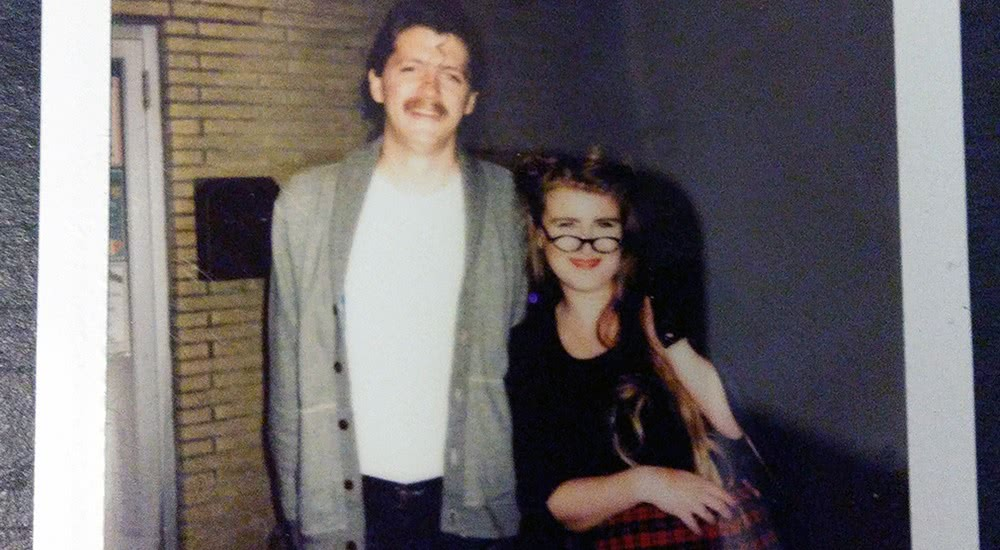 A crop from a Polaroid of our 'costumes' for the sock-hop.