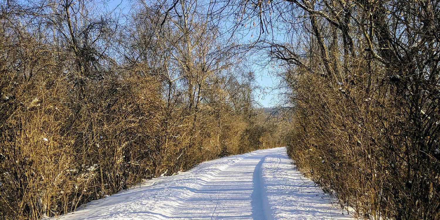 A Nice Winter Morning Hike to Work on the Bike Path