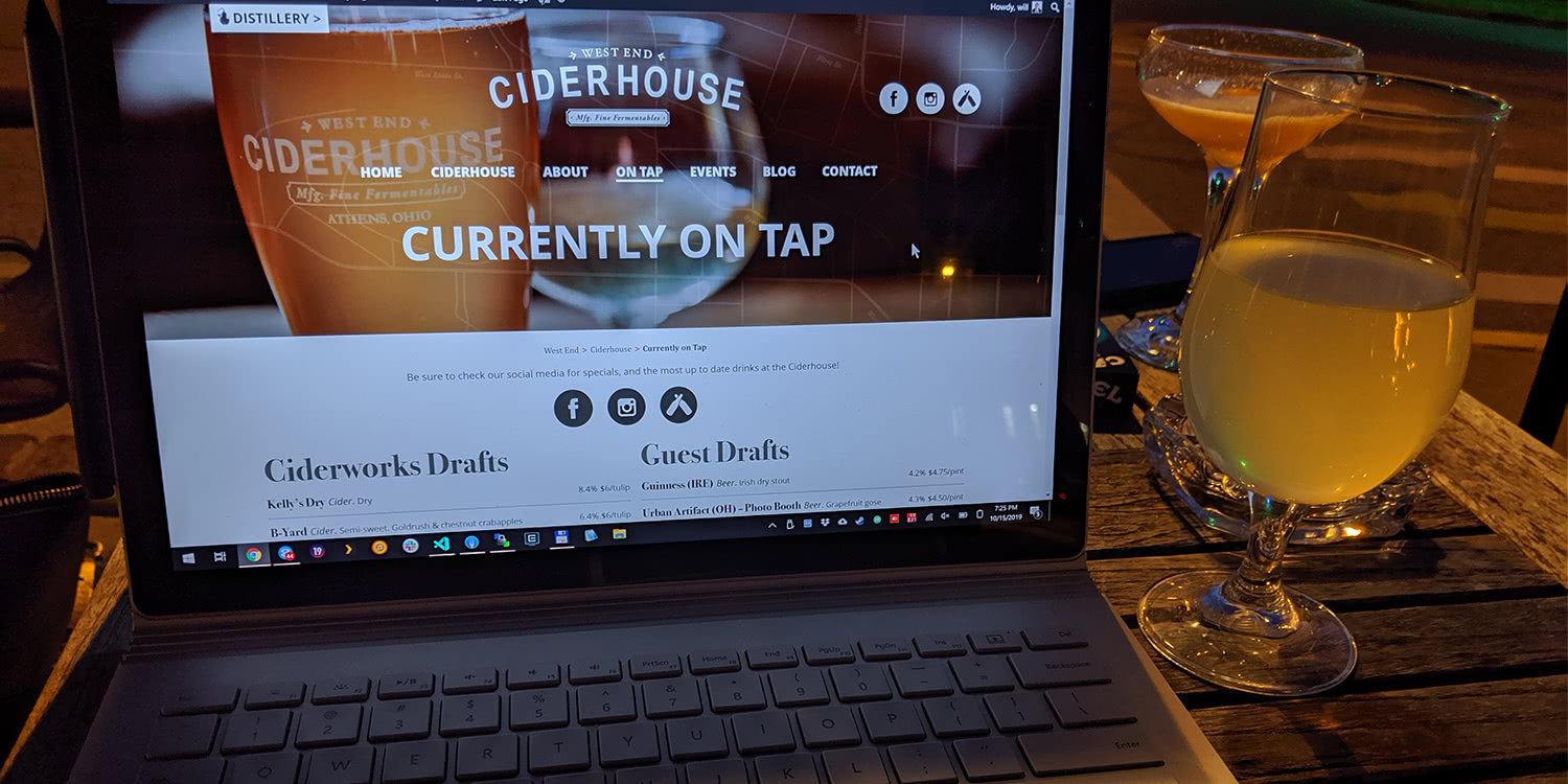 Wrapping Up the Ciderhouse Website *at* the Ciderhouse