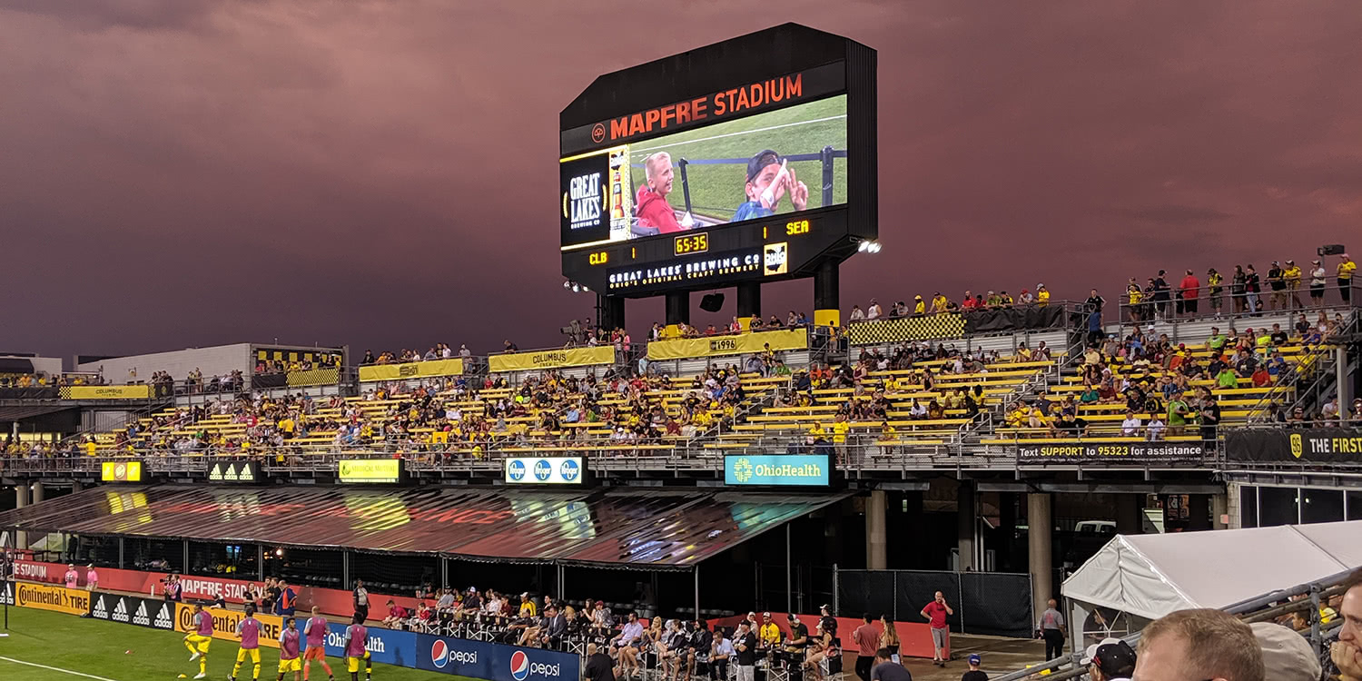 Sunset at the Crew's Mapfre Stadium